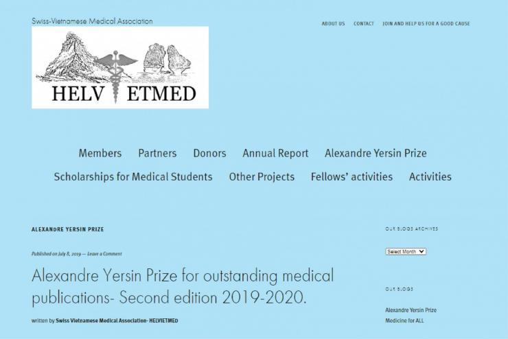 Giải thưởng ALEXANDRE YERSIN được trao cho đề tài nghiên cứu của ThS. BS. Đặng Quang Vinh và nhóm nghiên cứu Sinh non