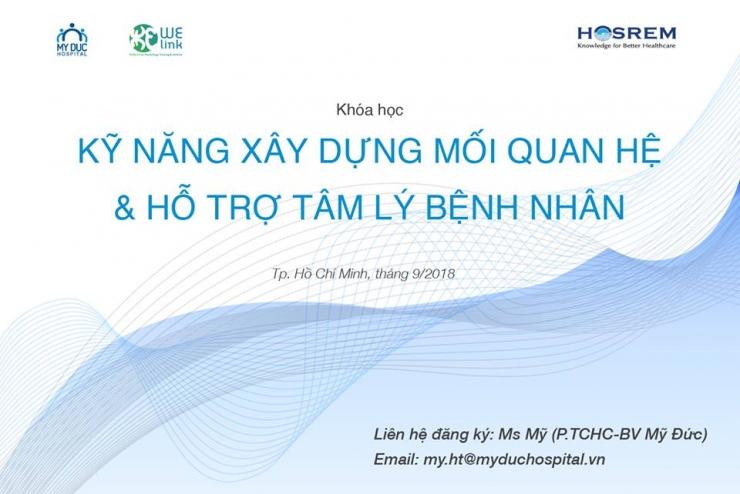 """Khóa học """"Kỹ năng Xây dựng mối quan hệ và hỗ trợ tâm lý bệnh nhân"""" - Tháng 9"""